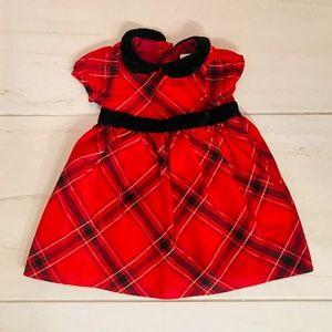 holiday red plaid dress velvet trim gymboree